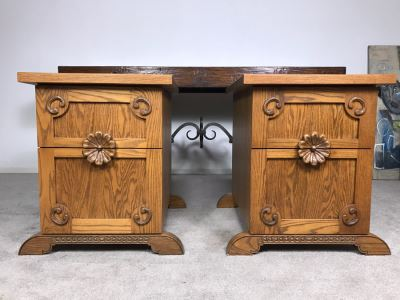 JUST ADDED - Pair Of Custom Made Hand Carved Oak Wooden Filing Cabinets 27W X 28D X 29.5H