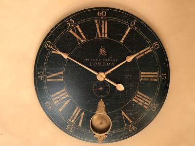 JUST ADDED - Large Uttermost 31' Bond Street Battery Powered Wall Clock With Pendulum Retails $155