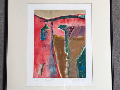 JUST ADDED - Original Jean Klafs Abstract Expressionist Framed Monotype On Paper Titled 'Max IV' 21 X 18