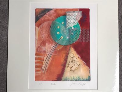JUST ADDED - Original Jean Klafs Abstract Expressionist Monotype On Paper Titled 'Orb' 21 X 18