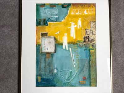 JUST ADDED - Original Jean Klafs Abstract Expressionist Framed Mixed Media Artwork On Paper Featured In Arizona Watercolor Association (AWA) Show Titled 'Progress' 30 X 24 Retails $700