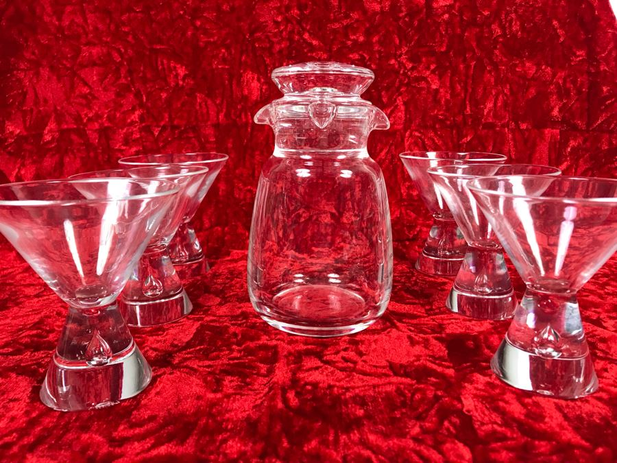 JUST ADDED - Signed Steuben Glass Mid-Century Modern Liquor Cocktail Glasses With Teardrop Stem Set Of Six (3 7/8 X 3 7/8) With Signed Steuben Double Spout Crystal Cocktail Shaker 4W X 6.5H (MOE) [Photo 1]