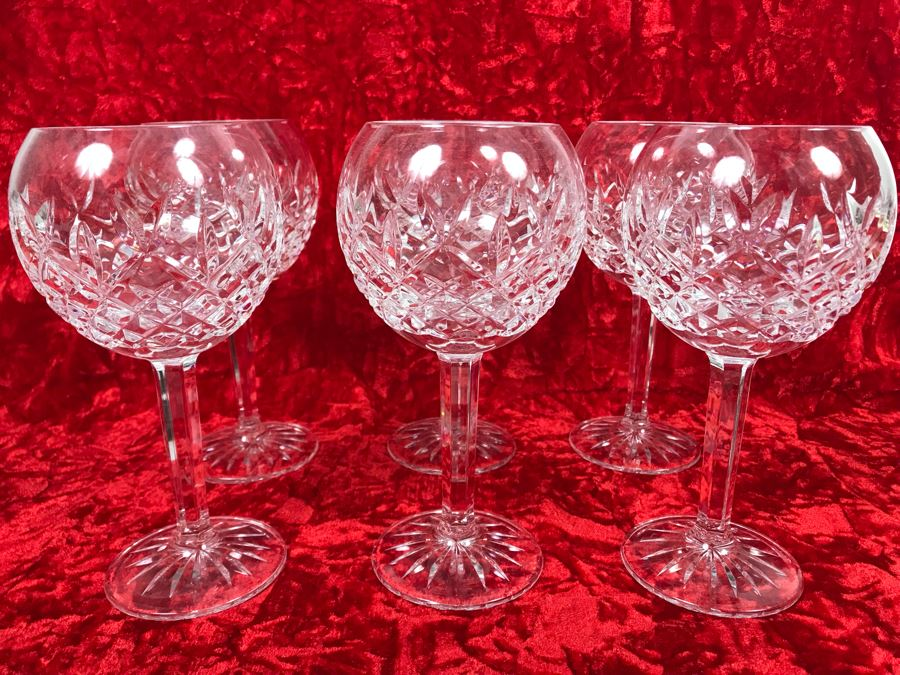 JUST ADDED - Set Of Six Waterford Crystal Wine Glasses Stemware Pallas Blown Glass 7 3/8H Replacements Value $770 (MOE) [Photo 1]