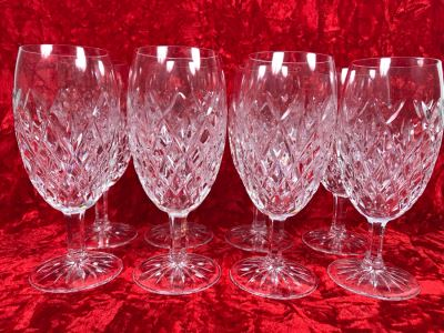 JUST ADDED - Set Of Eight Waterford Crystal Iced Tea Pallas Stemware Blown Glasses 7.25H Replacements Value $1,270 (MOE)