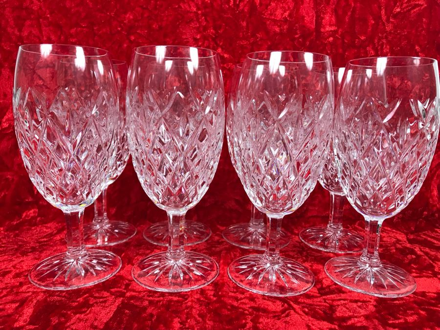 JUST ADDED - Set Of Eight Waterford Crystal Iced Tea Pallas Stemware Blown Glasses 7.25H Replacements Value $1,270 (MOE) [Photo 1]