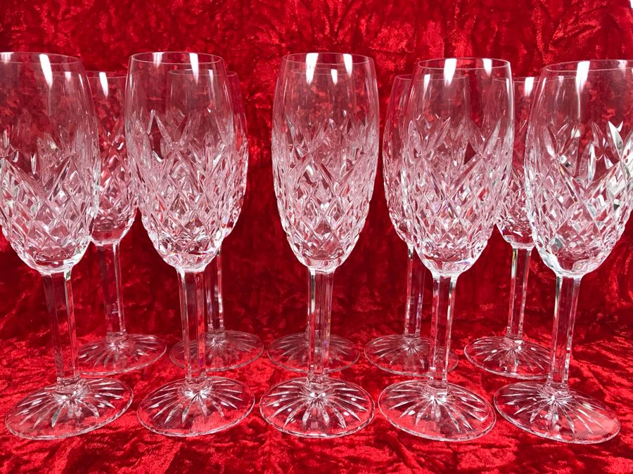 JUST ADDED - Set Of Ten Waterford Crystal Fluted Champagne Stemware Blown Glasses Pallas 8 5/8H Replacements Value $1,299 (MOE) [Photo 1]