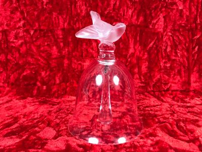 JUST ADDED - Signed Lalique France Bird Motif Crystal Bell 4.5W X 5.5H (MOE)