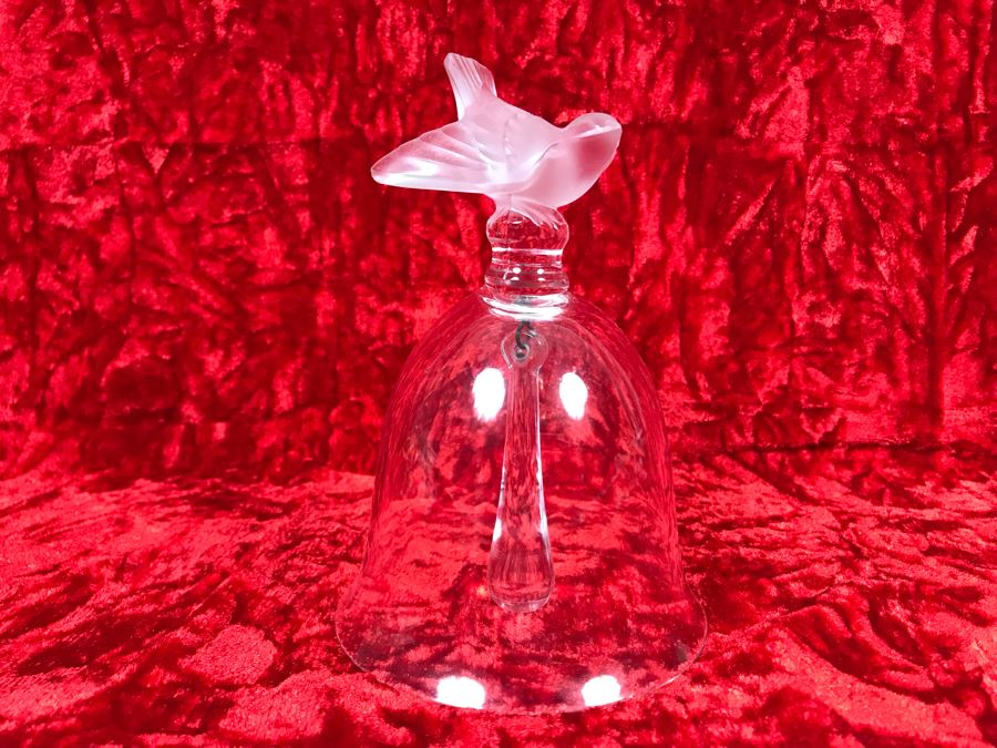 JUST ADDED - Signed Lalique France Bird Motif Crystal Bell 4.5W X 5.5H (MOE) [Photo 1]