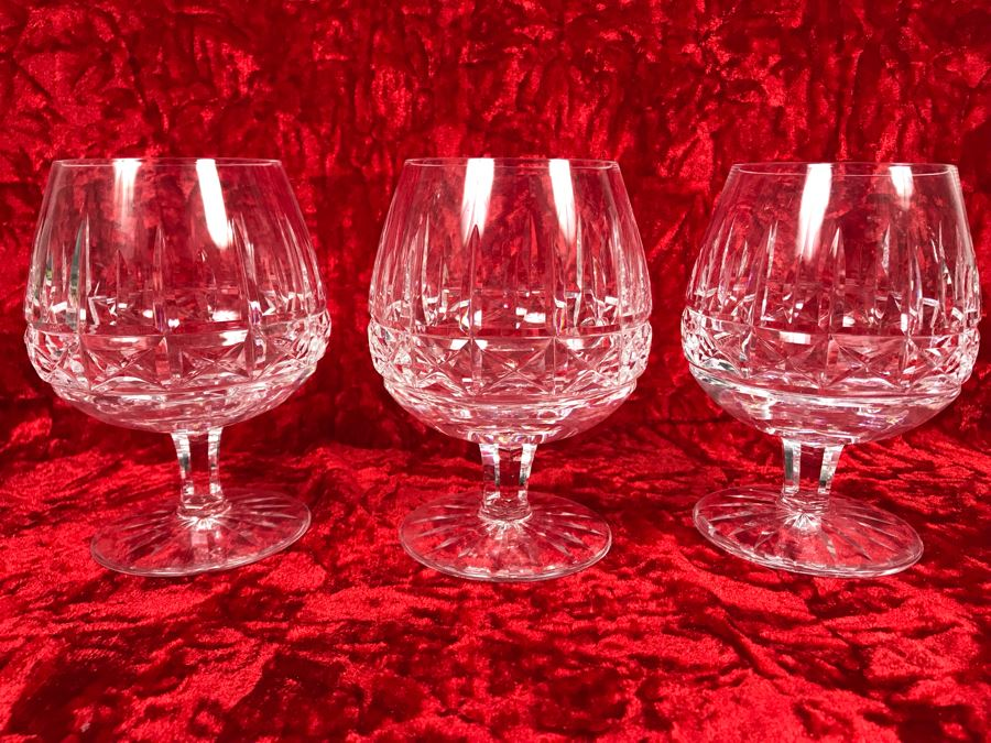 JUST ADDED - Set Of Three Waterford Crystal Brandy Glasses Stemware Kylemore Cut 5 1/4H X 2 5/8W Replacements Value $299 (MOE) [Photo 1]
