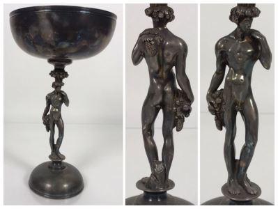 JUST ADDED - (1) Vintage Christofle Figural Naked Man Grape Motif Stem Silverplate Goblet 5.5W X 9.25H (MOE)
