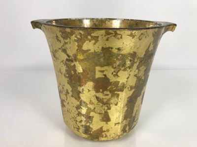 JUST ADDED - Hand Signed Lesley Roy Gold Wine Champagne Ice Bucket Handmade New Haven, CT 9W X 8H (MOE)