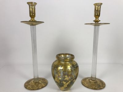 JUST ADDED - Individually Hand Signed Lesley Roy Gold Pair Of Tall Candlesticks Candleholders 16H And Gold Vase 7H Handmade New Haven, CT (MOE)