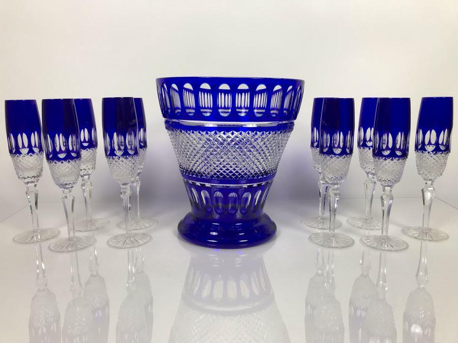 JUST ADDED - Godinger Cobalt Blue Cut Crystal Champagne Wine Ice Bucket With Ten Godinger Cobalt Blue Cut Crystal Champagne Flutes Stemware Glasses (MOE) [Photo 1]