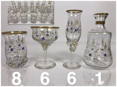 JUST ADDED - Elegant Gold Rimmed Hand-Painted Crystal Glassware Stemware With Decanter (Numbers Below Each Type Indicate Individual Quantities) (MOE)