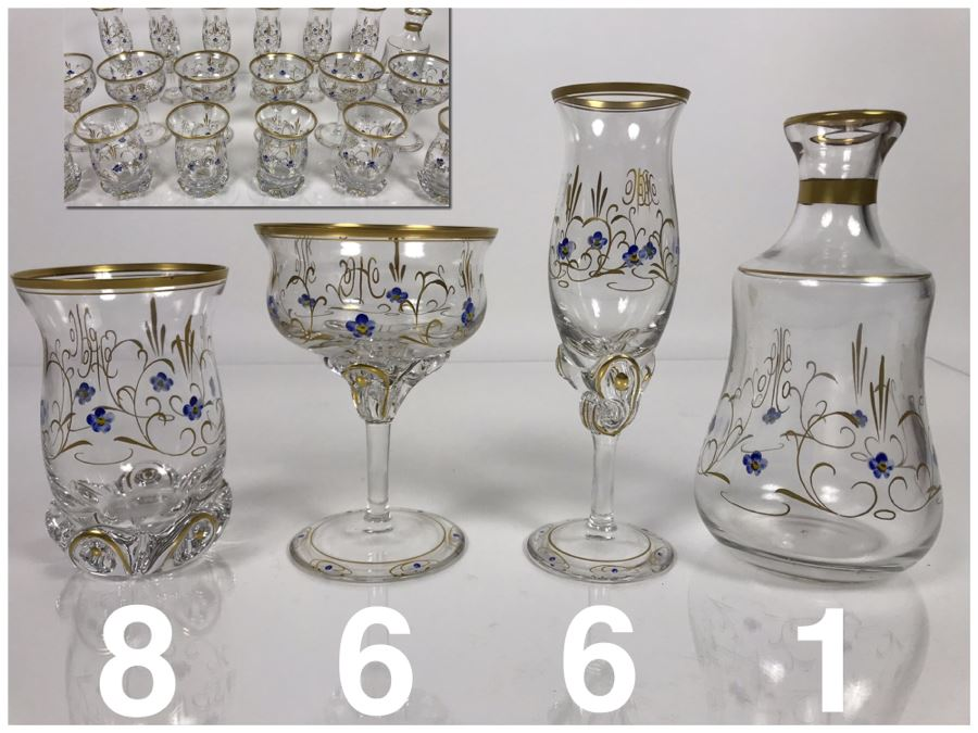 JUST ADDED - Elegant Gold Rimmed Hand-Painted Crystal Glassware Stemware With Decanter (Numbers Below Each Type Indicate Individual Quantities) (MOE) [Photo 1]
