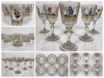 JUST ADDED - Stunning Vintage French Hand-Painted Gold Rimmed 35 Piece Crystal Glassware Includes: Stemware, Glasses, Plates, Saucers, Bowls (MOE)