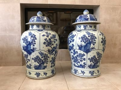 JUST ADDED - Pair Of LARGE Antique Chinese Porcelain Ginger Jars With Lids 24H X 14W (MOE)