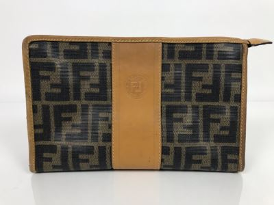 JUST ADDED - Vintage Fendi Italy Leather Cosmetic Bag 9W X 3D X 5H (MOE)