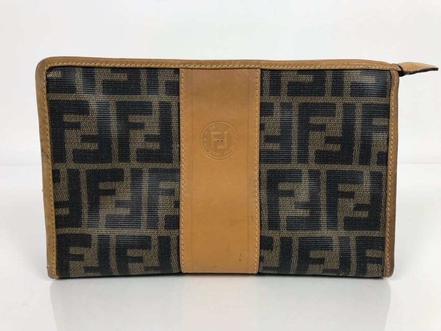 JUST ADDED - Vintage Fendi Italy Leather Cosmetic Bag 9W X 3D X 5H (MOE) [Photo 1]