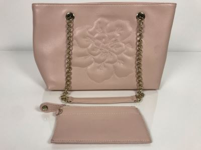 JUST ADDED - Anne Fontaine Floral Front Pink Leather Handbag (MOE)