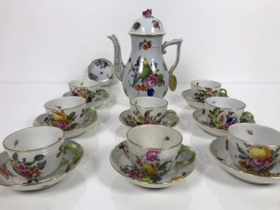 JUST ADDED - Vintage Herend Hungary Hand-Painted Teapot 9H (One Of The Stoppers Underneath Lid Is Chipped) With Eight Demitasse Cups 2.5W And Saucers And Small Dish