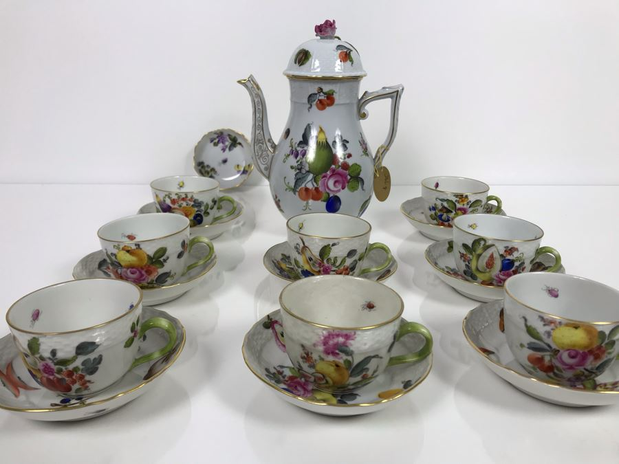 JUST ADDED - Vintage Herend Hungary Hand-Painted Teapot 9H (One Of The Stoppers Underneath Lid Is Chipped) With Eight Demitasse Cups 2.5W And Saucers And Small Dish [Photo 1]