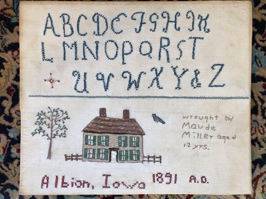 JUST ADDED - Antique 1891 Sampler Albion, Iowa 12.5W X 10.5H [Photo 1]