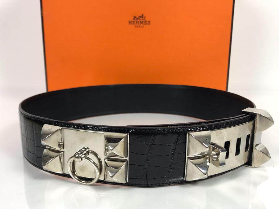 JUST ADDED - Vintage Women's Hermès Collier De Chien Black Leather And Silver Belt With Original Box Made In France Paris 80 C5 (Miss Oregon Estate - MOE) [Photo 1]