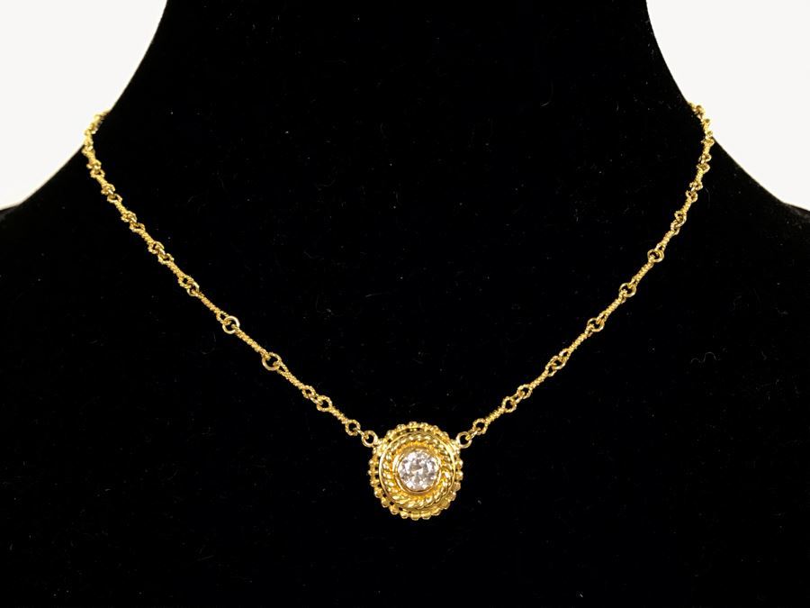 JUST ADDED - 18K Gold Chain Necklace With 18K Gold Pendant (Diamond Was Replaced With CZ Stone) 15'L Chain 10.8g (MOE) [Photo 1]