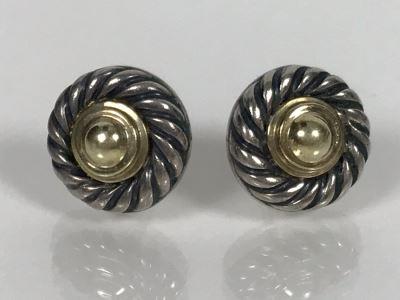 JUST ADDED - David Yurman 14K Gold / Sterling Silver Stud Earrings 4.5g (MOE)