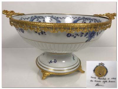 LAST MINUTE ADD - Hand Painted For Ginori Fifth Avenue Italian Footed Bowl With Gold Tone Decorations 12W X 6H (MOE)