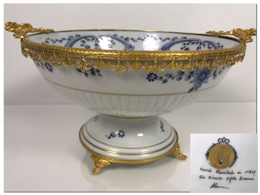 LAST MINUTE ADD - Hand Painted For Ginori Fifth Avenue Italian Footed Bowl With Gold Tone Decorations 12W X 6H (MOE) [Photo 1]