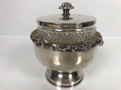 LAST MINUTE ADD - Vintage Elegant Barker Ellis Silverplate Caviar Server England 6W X 6.5H (MOE)