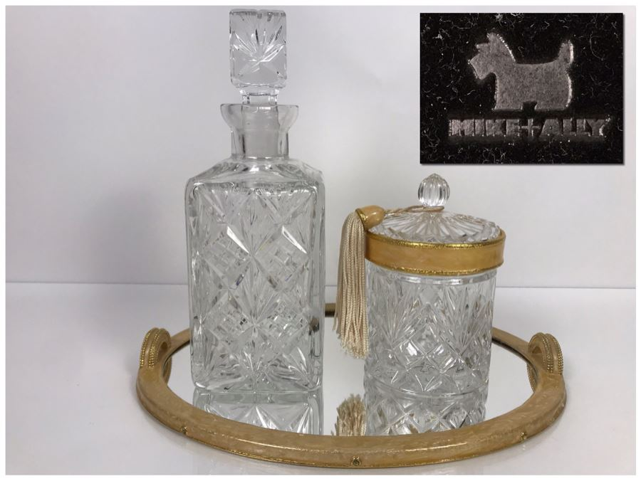 LAST MINUTE ADD - Mike + Ally High End NYC Designer Bath Accessories Mirrored Vanity Tray With Covered Crystal Box And Crystal Decanter Retails Over $400 (MOE) [Photo 1]
