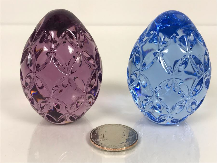 LAST MINUTE ADD - Pair Of Waterford Colored Crystal Eggs 2.5H [Photo 1]