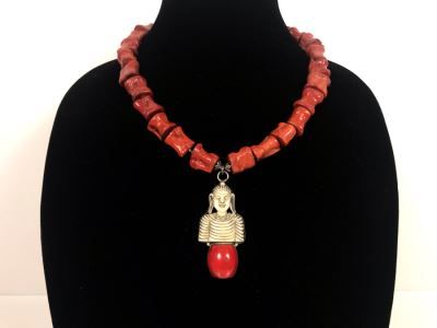 LAST MINUTE ADD - Stunning Red Chunky Coral Necklace With Carved Bone And Sterling Pendant