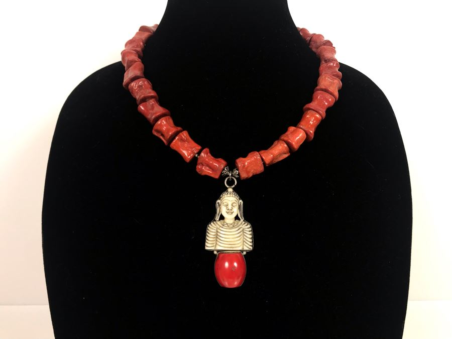 LAST MINUTE ADD - Stunning Red Chunky Coral Necklace With Carved Bone And Sterling Pendant [Photo 1]