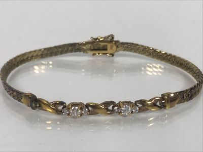 LAST MINUTE ADD - Sterling 7'L Bracelet With Clear Stones 8.8g