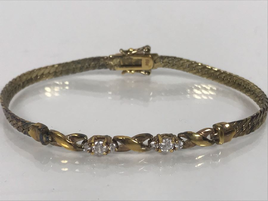 LAST MINUTE ADD - Sterling 7'L Bracelet With Clear Stones 8.8g [Photo 1]