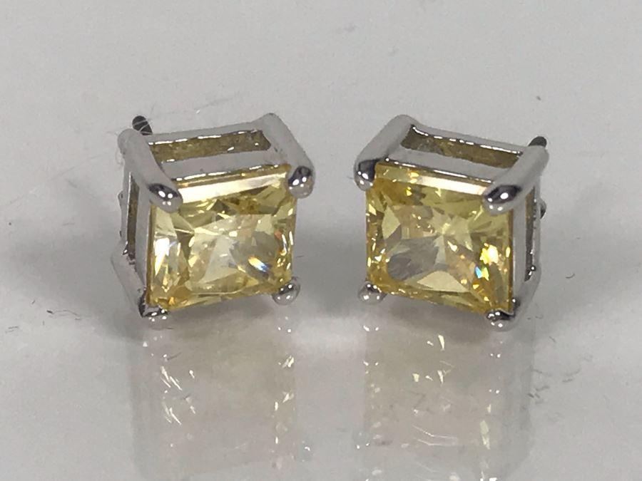 LAST MINUTE ADD - Sterling Silver CZ Earrings 3.1g [Photo 1]