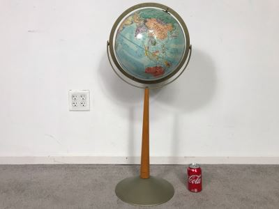 Vintage Mid-Century Replogle Steroe Relief World Globe 12'D With Stand 16W X 33H (OHE)