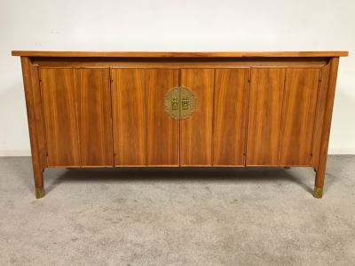 Stunning Mid-Century Chinoiserie Solid Teak Heritage Furniture Credenza Buffet Sideboard Cabinet 62W X 20D X 30H (OHE)