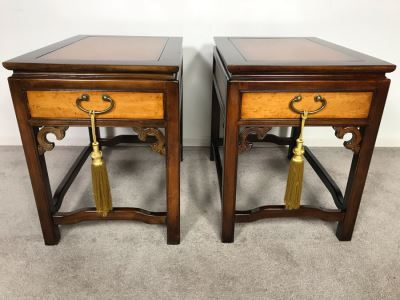 Pair Of Wellington Hall Wooden Chinoiserie Side Tables With Drawers - Birds Eye Maple Top 18W X 26D X 24H (OHE)