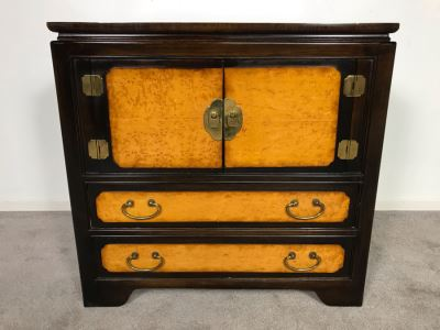 Wellington Hall Wooden Chinoiserie Cabinet With Two Drawers And Birds Eye Maple 32W X 18D X 30.5H (OHE)
