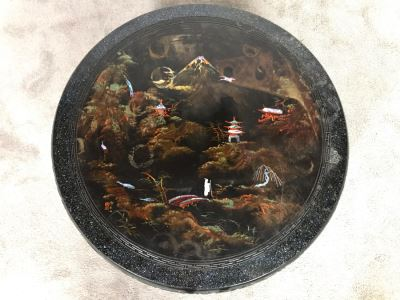 Signed Japanese Black Lacquer Round Table Painting With Mother Of Pearl Inlay Design 30R X 15.5H (OHE)