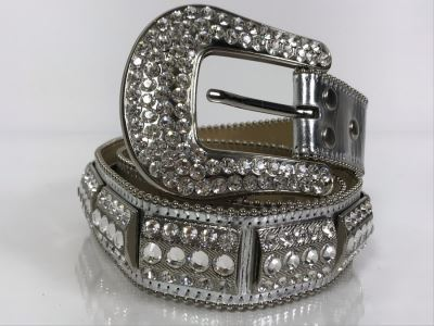 B. B. Simon Swarovski Crystal Leather Belt Size L