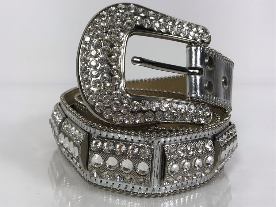 B. B. Simon Swarovski Crystal Leather Belt Size L