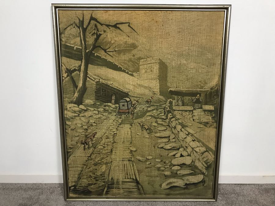 Framed Original Signed Asian Batik Painting On Cloth (Some Foxing) 27 X 33.5