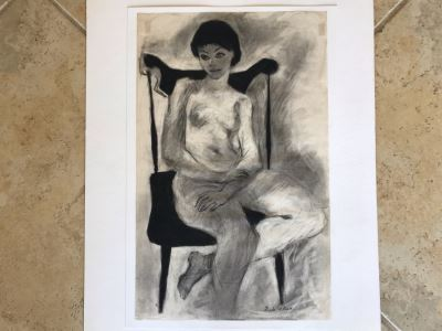 Original Nude Drawing Signed I. De La Rosa 12W X 19H (JKE)