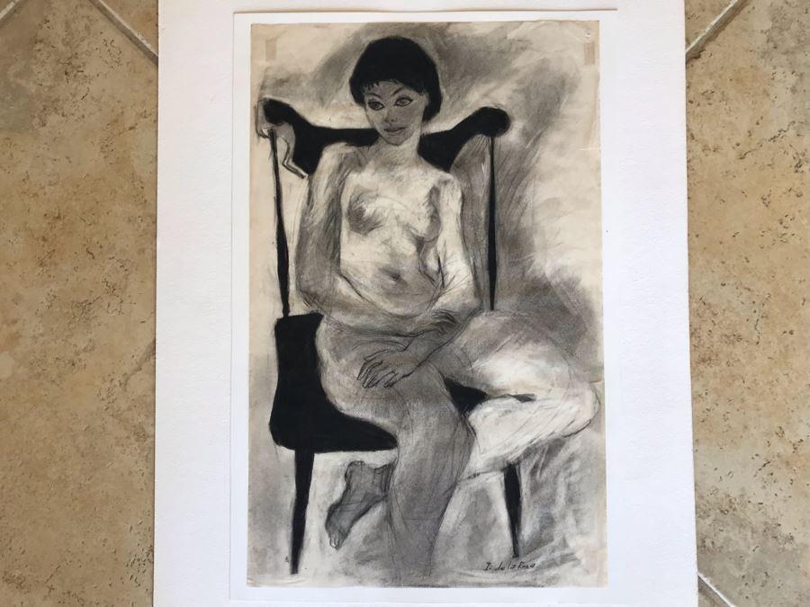 Original Nude Drawing Signed I. De La Rosa 12W X 19H (JKE)